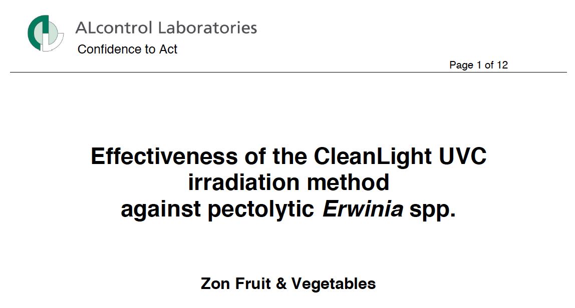 ALcontrol Laboratories: Effectiveness CleanLight against Erwinia spp.