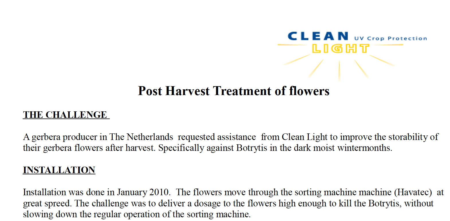 Post Harvest Treatment of Flowers