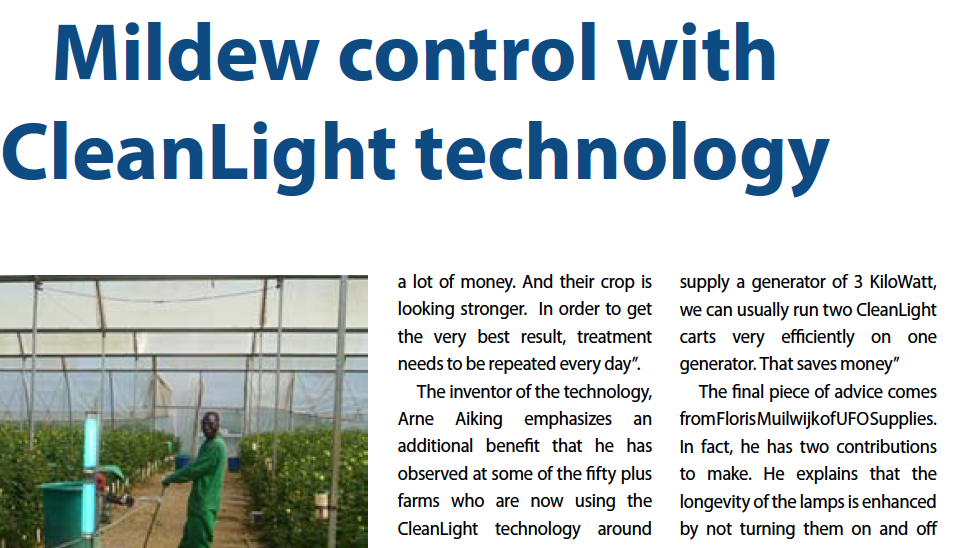Horticultural News: Mildew control with CleanLight technology